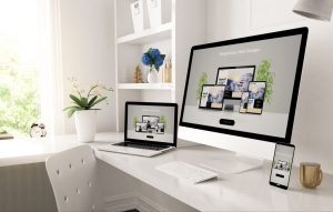 responsive devices on home desktop showing web design website 3d rendering